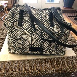 Lucky Brand tote. Black/white cloth print